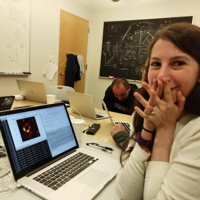 Dr. Katie Bouman when the image was being reconstructed