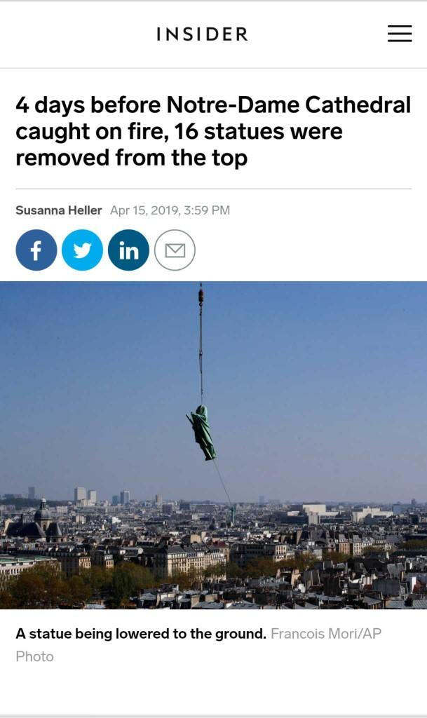 Soooooooo!!! We Gonna Ignore The Fact That They Removed 16 Statues Before The Notre Dame Fire?