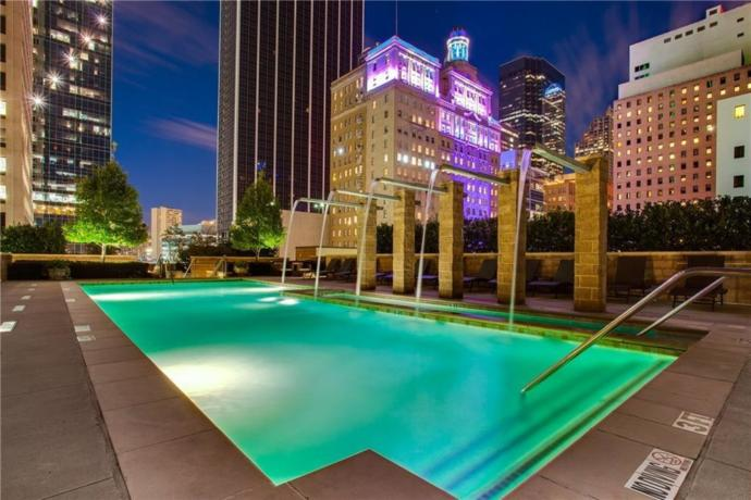 My building in Dallas, TX. This is the pool area which is open all night.