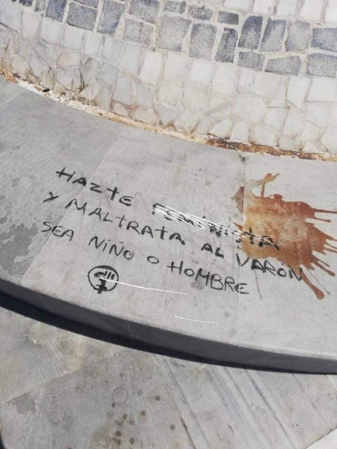 The defaced monument... My friend said it means something like