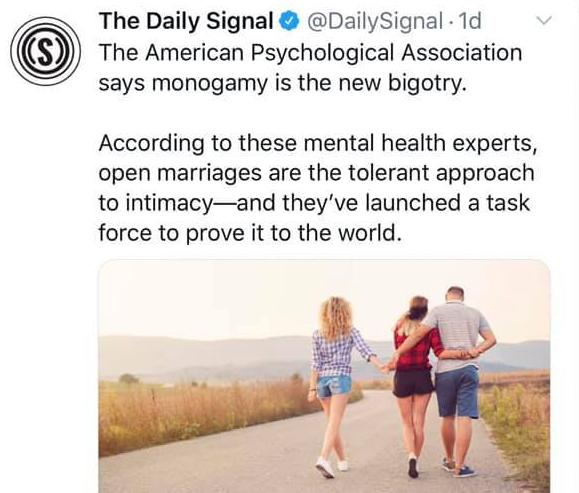 American Psychological Association says monogamy is the new bigotry, launched task force to generate public interest into open relationships, thought?
