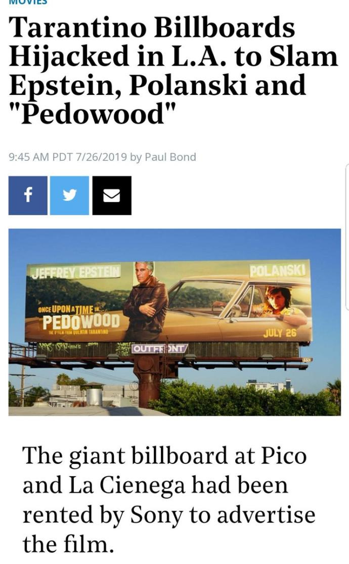 Once Upon a Time in… Pedowood. Will you be going to see Tarrintino's homage to child rapist Roman Polanski?