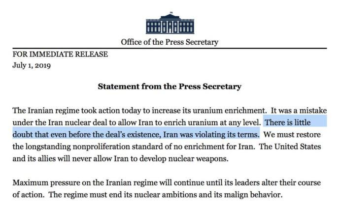 The Iranians broke the terms of the nuclear deal, even before it existed. Have you heard?