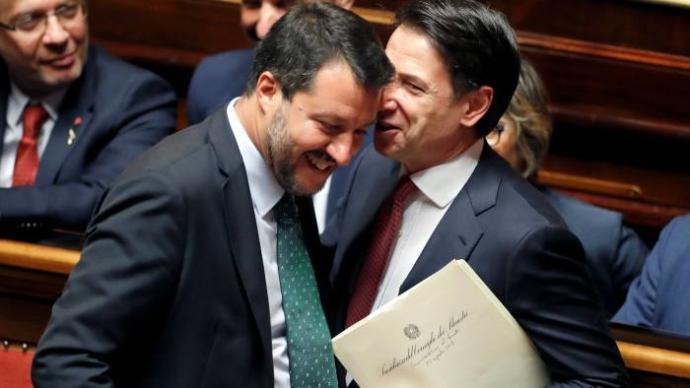Matteo Salvini and Guiseppe Conte