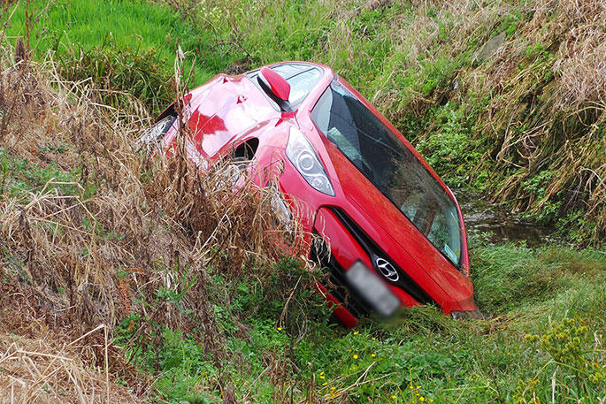 A rough approximation of the accident. But my ditch was deeper.