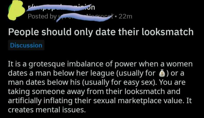 Should people only date their looksmatch?