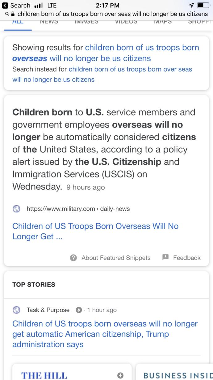 Children born to our Troops out of the country no longer considered US citizens?