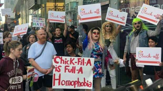 Protesters rally outside Chick-fil-A's 1st Toronto location on its opening day. Opinions?