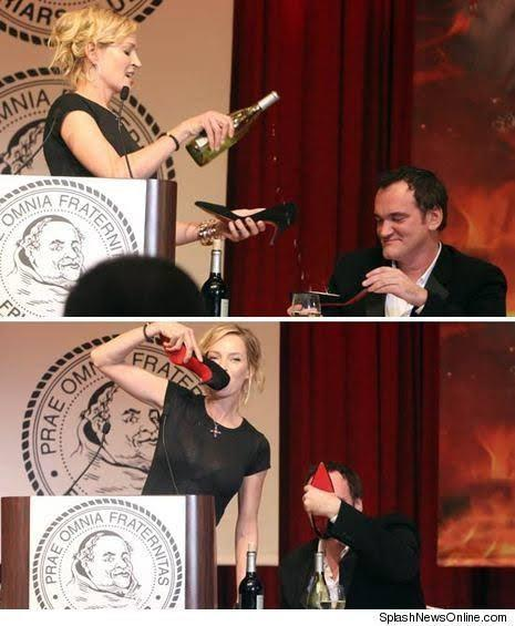 Would you drink champagne from Uma Thurman's high heels?