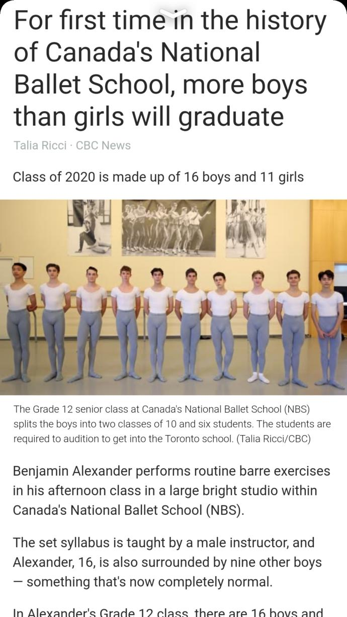 How you feel about more boys than girls will graduate this year in ballet?