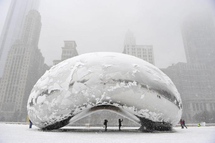 'Cloud Gate' in Winter, aka 'The Bean', Sir Anish Kapoor