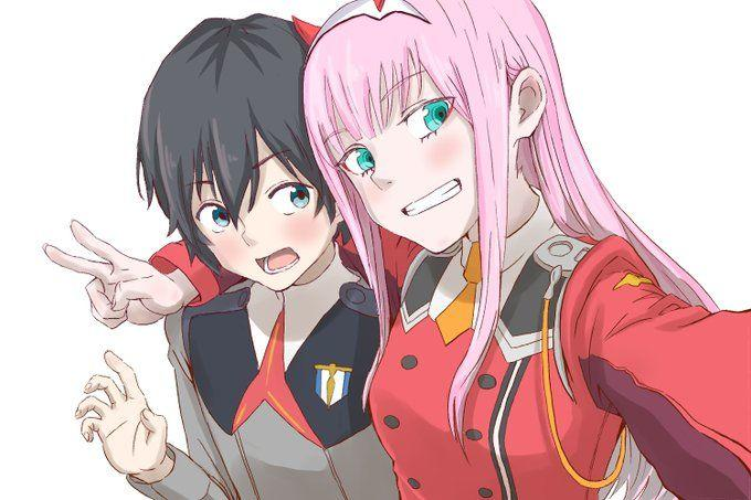 Left to right, Hiro and Zero Two (Anime: Darling in the Franxx)