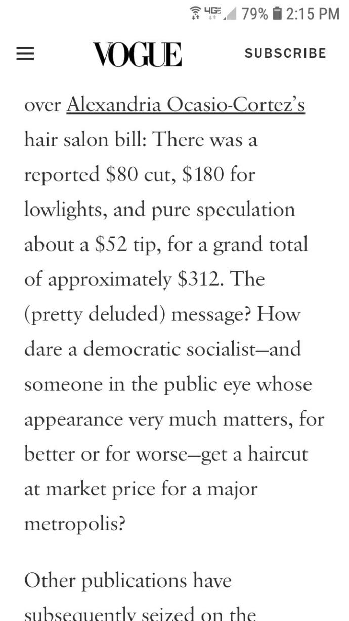 Horseface Alexandria Cortez's haircut costs 300 dollars. Thoughts?