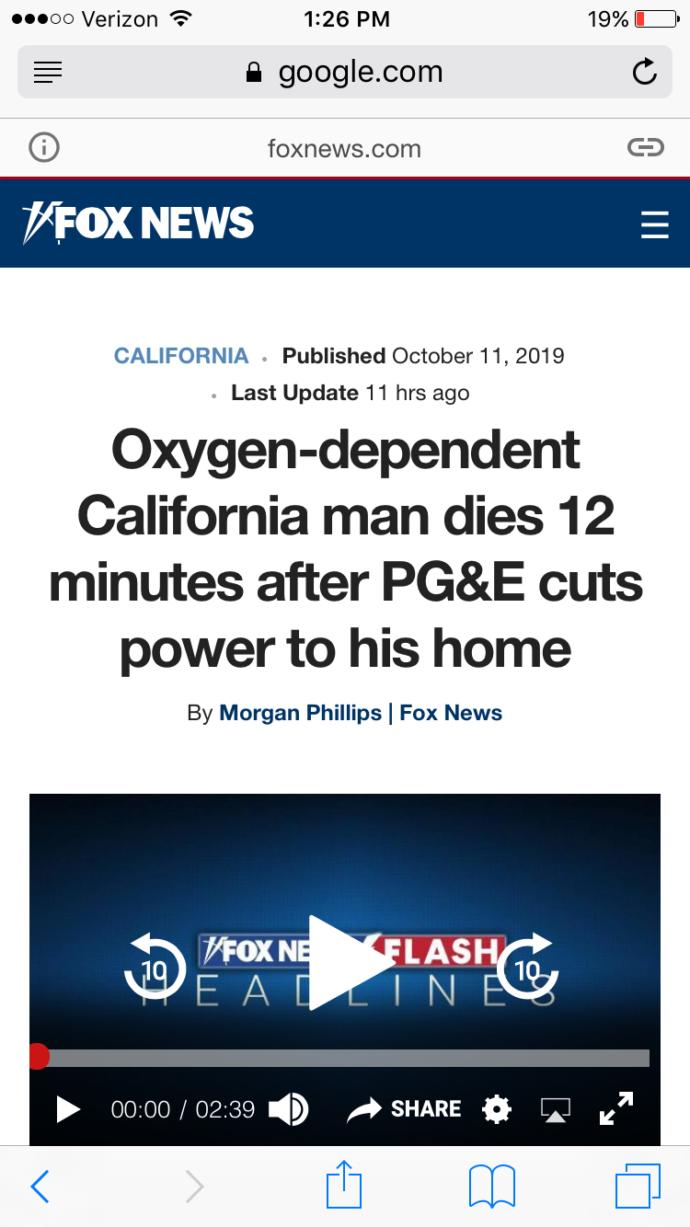 Americans whats this? Oxygen-dependent California man dies 12 minutes after PG&E cuts power to his home?