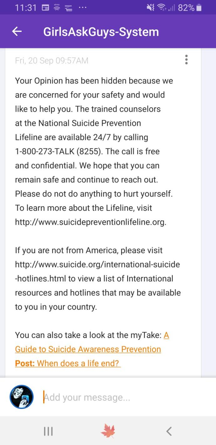 So, I basically haven't been having the best of times lately and I even got this message... so does the Suicide Prevention Hotline actually help?