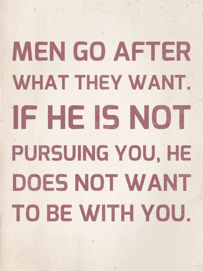 When a woman pursues a man, is that wrong?