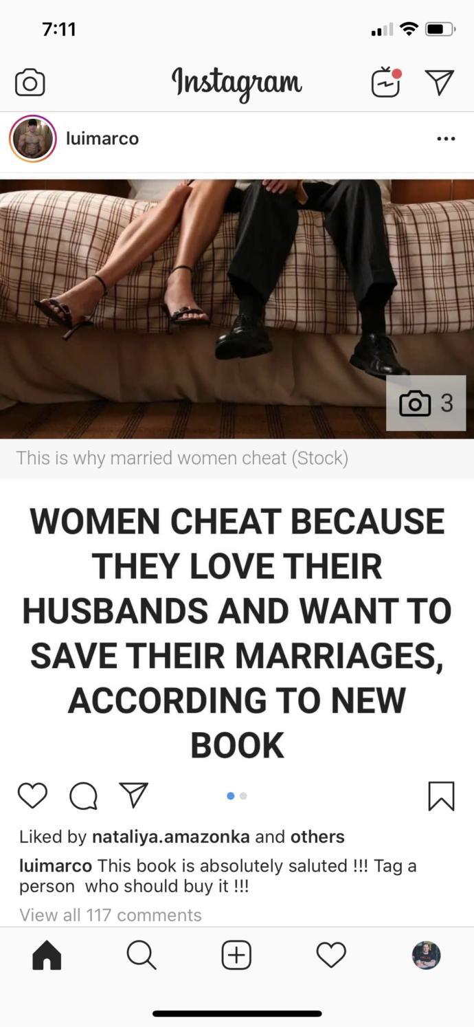 """""""Women don't cheat"""", """"men are fucking cheating pigs"""". When will it be accepted that women cheat too?"""