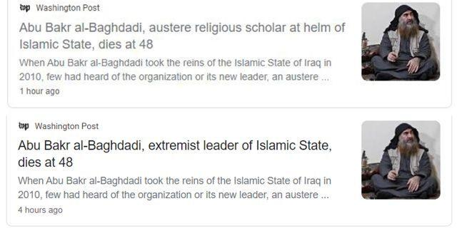 The Washington Post changed the original headline of Abu Bakr al-Baghdadis death which stated that he was an austere religious scholar. Thoughts?