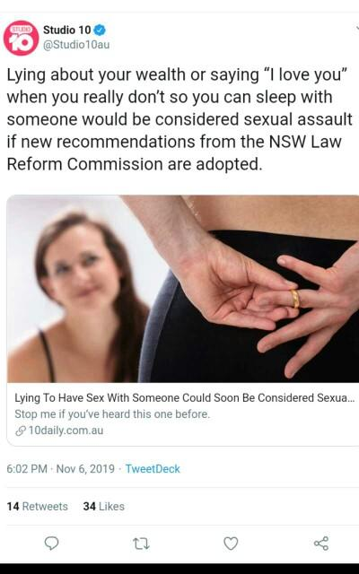 Should it be sexual assault to lie about loving someone so you can have sex with them?