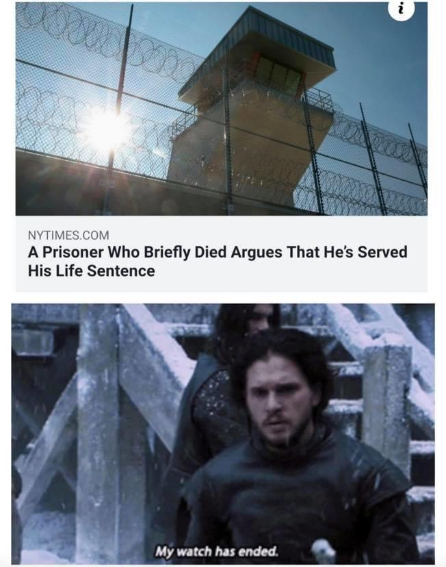 If someone served a life sentence and then they died and came back to life, are they free of the sentence now?