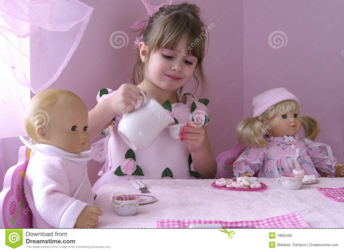 Girls, did you ever have a tea party with your dolls when you were a kid?