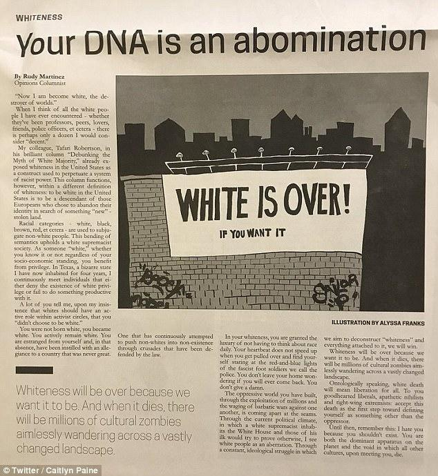 An op-ed written by a TSU student in 2017 said that White DNA is an Abomination and that white death will mean liberation for all. Thoughts?