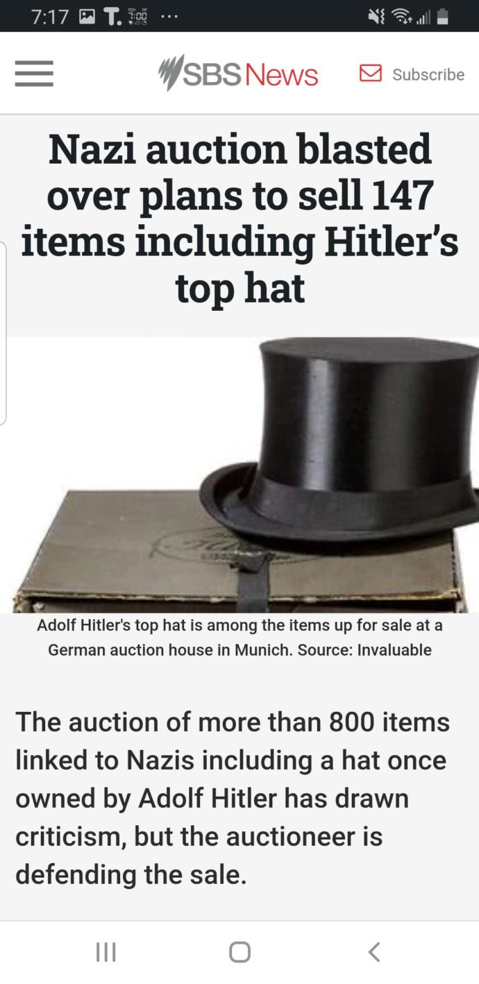Would you buy Hitlers hat?