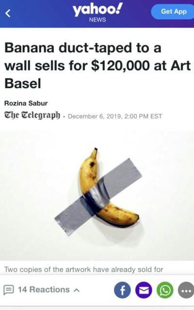 Banana duct-taped to a wall sells for $120,000. Opinions?