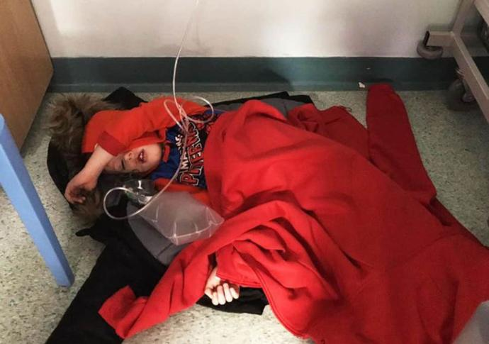 4-year-old boy in hospital is made to sleep on the floor because there are not enough beds. Thoughts?