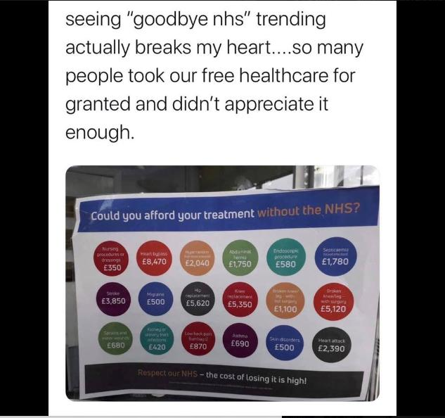 #GoodbyeNHS was trending yesterday😢... What will the future be for our NHS?