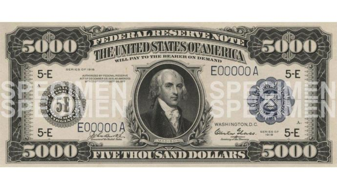 Do you ever seen one of these USA big bills, a $500, a $1,000, a $5,000, a $10,000 and, a $100,000 bill?