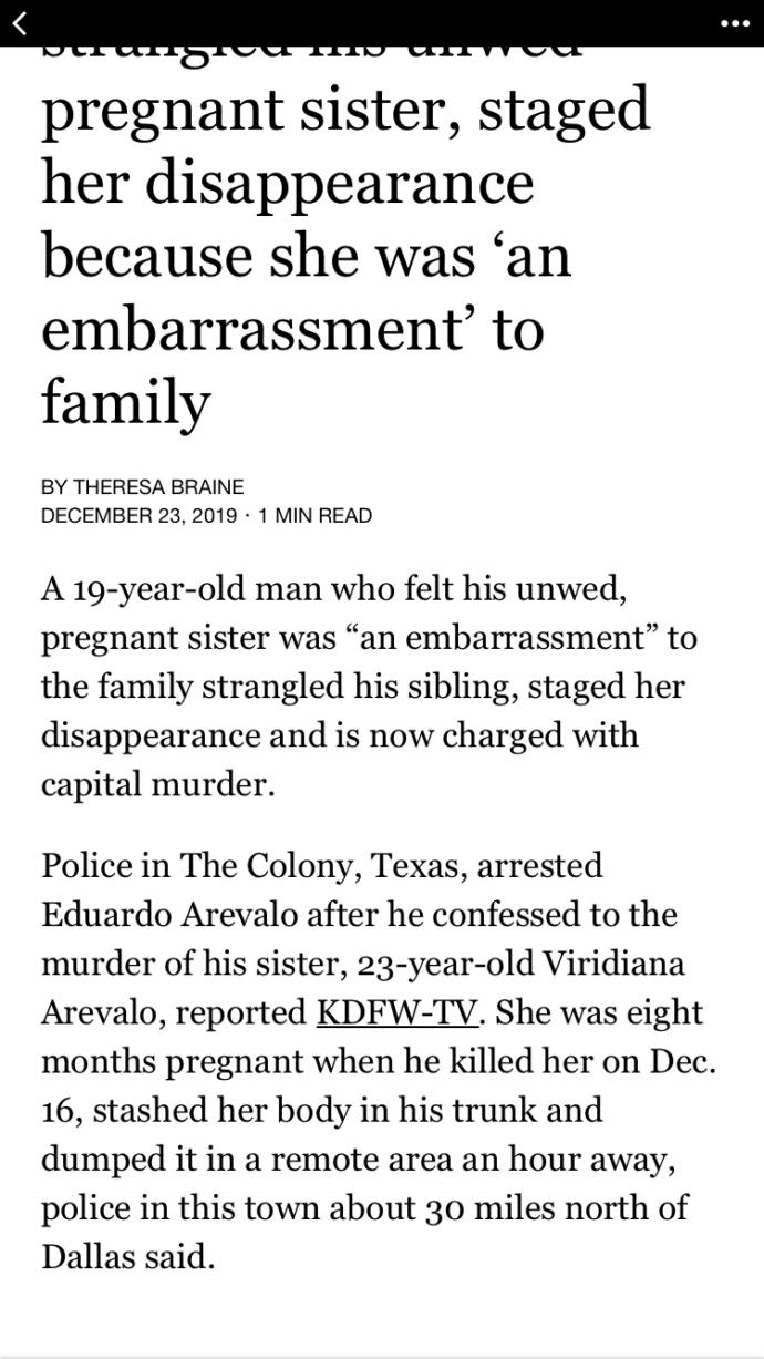 Brother kills his sister because she was unmarried and pregnant at 23 years old. Perfect example of toxic masculinity?