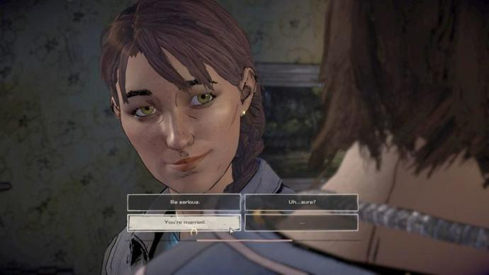 How far would you go with someone in a married relationship, according the walking dead new frontier?