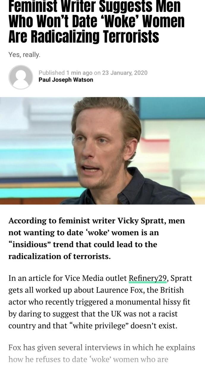 """Guys would you date a """"woke"""" women?"""