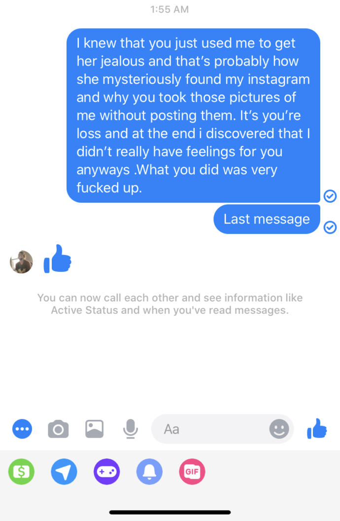 So I wanted to message my ex one last thing was this the right thing to do? And what did he mean by the thumbs up?