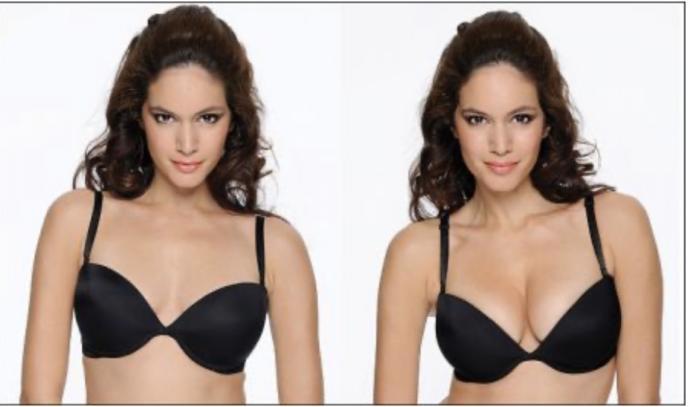Wearing a push-up bra?