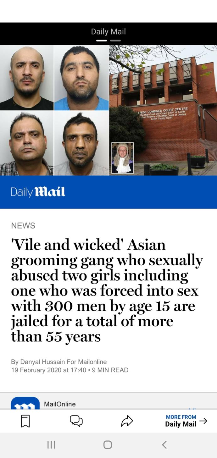 Little justice in huddersfield yesterday as ASIAN grooming gang members given a slap on the wrist, thoughts?