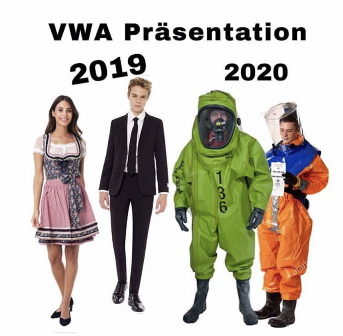 VWA Presentation 2019 vs 2020 (the dress the girl is wearing is traditionally Austrian)