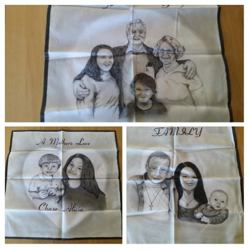 What do you all think of these portraits drawn on handkercheifs?