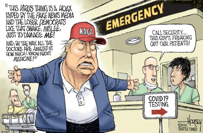 Why does Trump talk like he is an expert on the virus when he said it was a hoax by Dems at start?