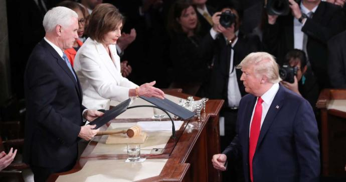 Feb 4 State of the Union.. the Coronavirus was out... Is it possible Trump dodged a lethal bullet by dissing the handshake... hummm?