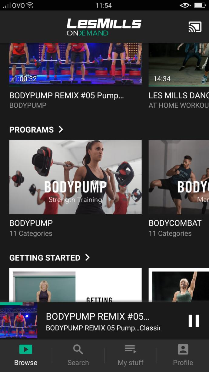 Signed up to lesMills on demand.