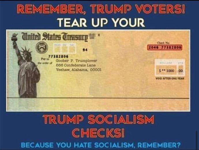 Will trump cultists return their stimulus check since its socialism?