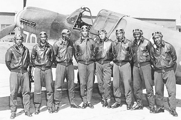 Tuskegee Airmen posing for photo