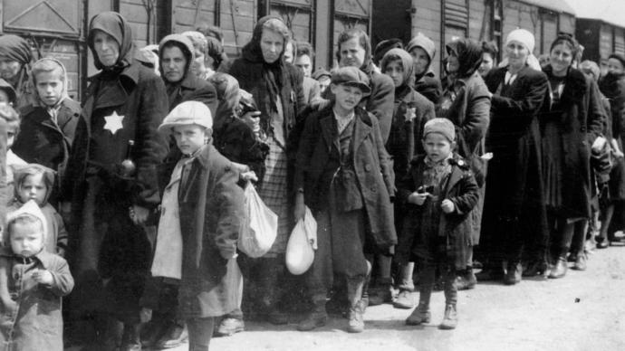 The arrival of a deportation train, bringing Hungarian Jews to Auschwitz, circa 1942.