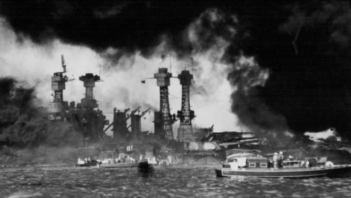U. S. Ships in Pearl Harbor, Hawaii after the Japanese attacked the harbor.
