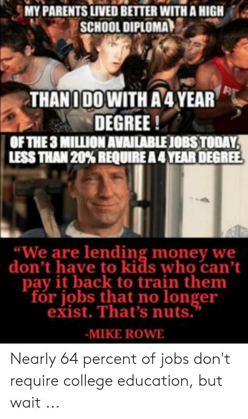 What percentage of College graduates actually end up with a degree that warrants the years & money they spent that also gets them a decent paying job?