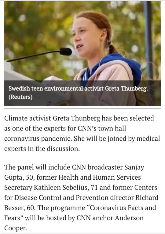 Ehat do you think about Greta Thunberg being invited to CNNs Covid-19 discussion panel?
