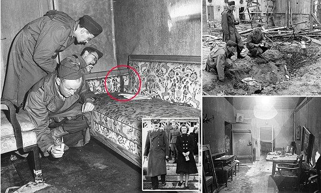 Hitlers death took place on that Sofa, his body was then taken to the trench to be burned.