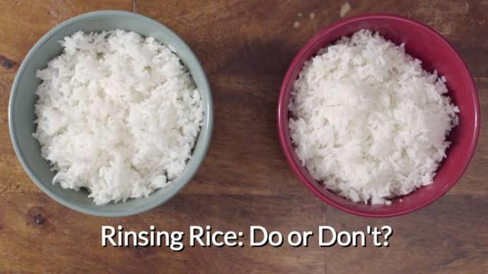 Washed and unwashed rice